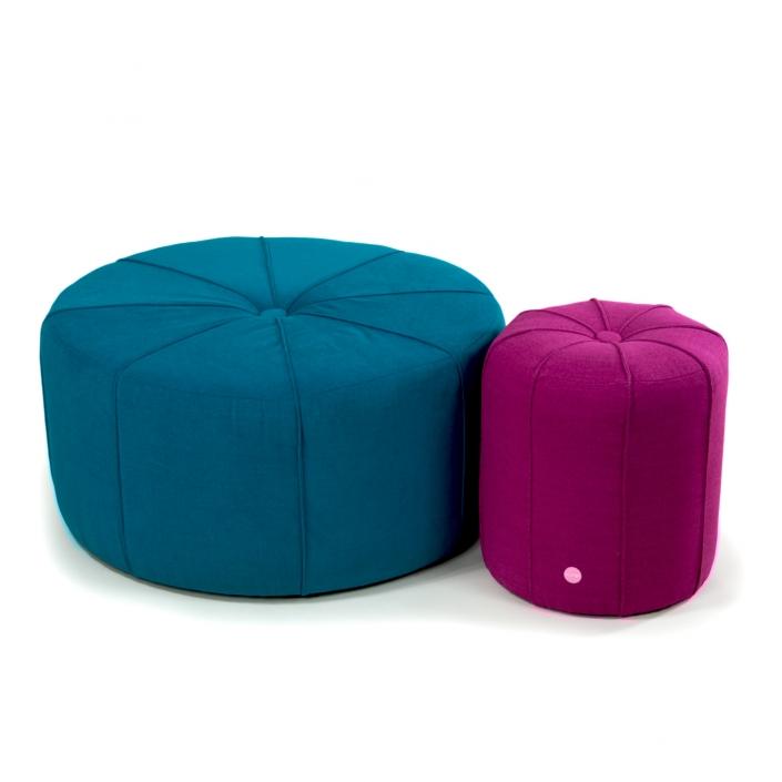 Zdjęcie produktu 2 pufy duża niebieska i mała różowa