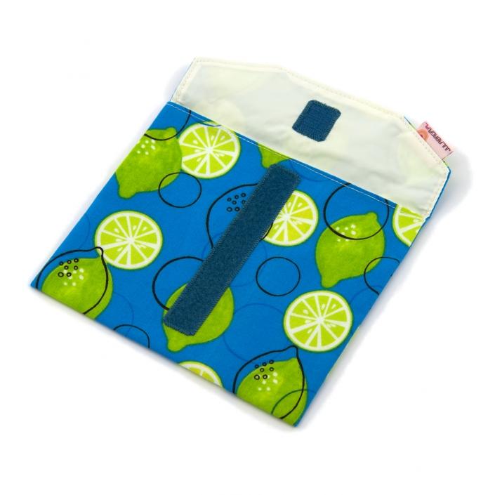 Zdjęcie produktu, niebieska saszetka z płótna w limonki