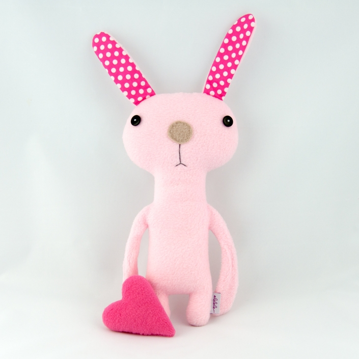 Zdjęcie produktu różowy zając z sercem przytulanka