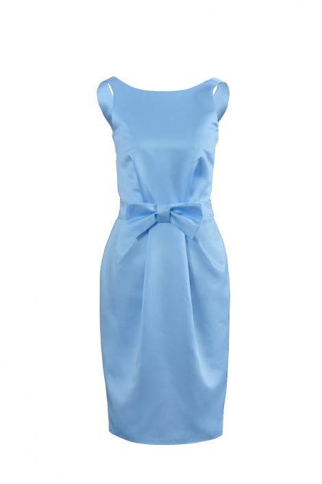 Zdjęcie produktu - zdjęcie duch - sukienka mini z niebieskiej satyny z kokardą