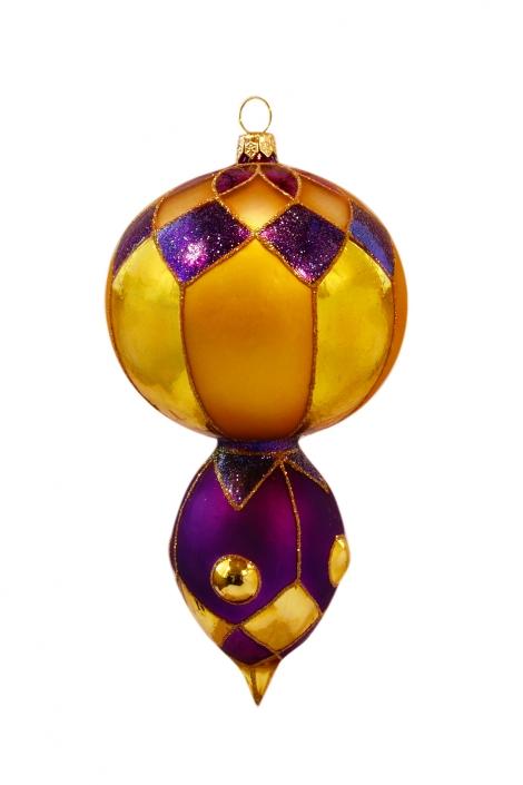 Zdjęcie produktu - bombka lampion złoto fioletowa z brokatem