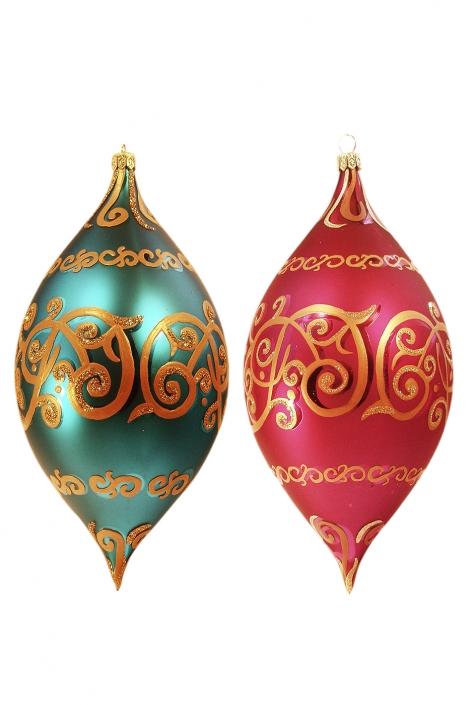 Zdjęcie produktu - tradycyjne bombki ze złotymi ornamentami