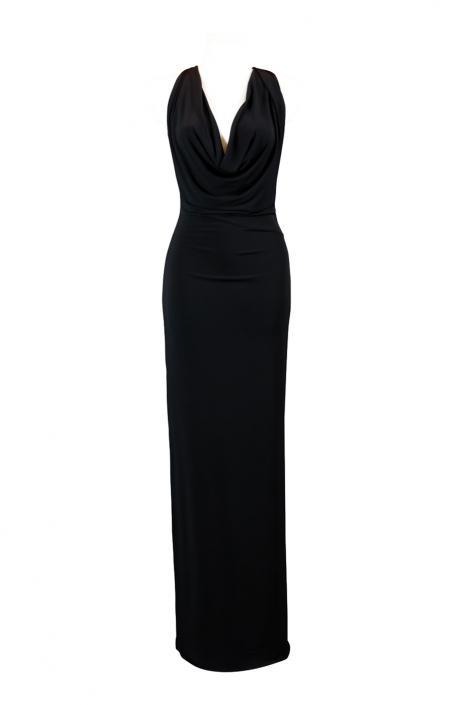 Zdjęcie produktu - czarna długa dopasowana suknia wieczorowa z odkrytymi plecami i dekoltem falą